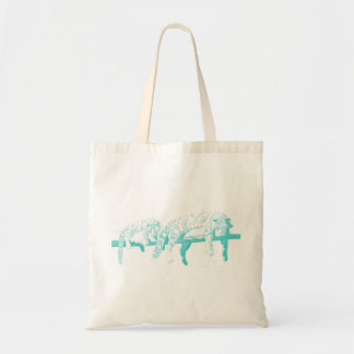 Clouded Leopards on a Log Tote Bag -- Light Blue