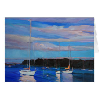 Clouds and Boats at Sunset Greeting Card