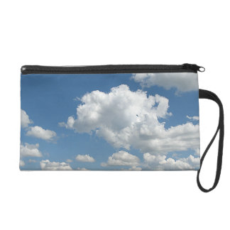 Clouds and Green Wristlet Clutches