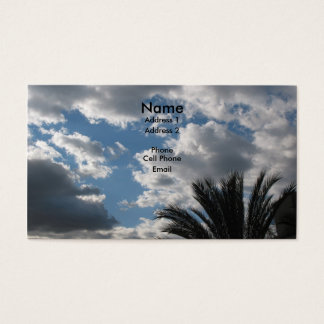clouds and palm tree business card