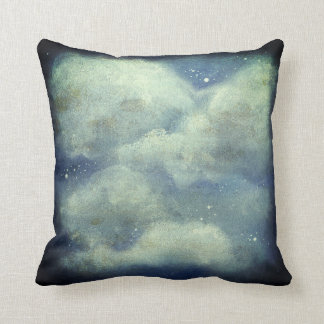Clouds and stars throw pillow