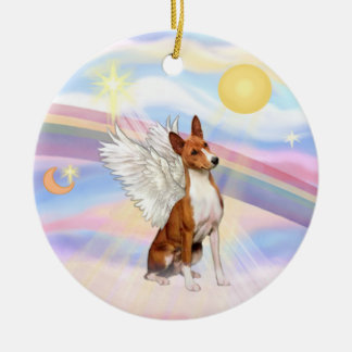 Clouds - Basenji Round Ceramic Decoration