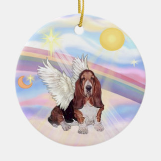 Clouds - Basset Hound Round Ceramic Decoration