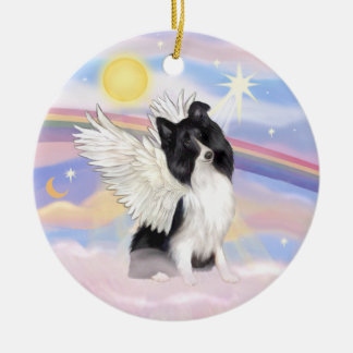 Clouds - Bi Black Shetland Sheepdog Angel Christmas Ornament