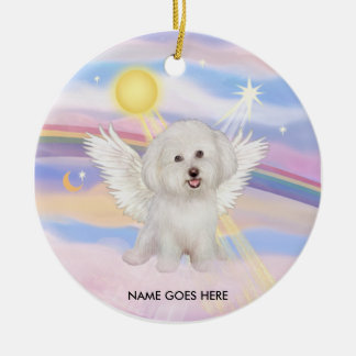 Clouds - Bichon Angel (#7), NAME GOES HERE Round Ceramic Decoration