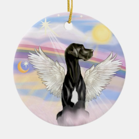 Clouds - Black Great Dane (Natural ears) Christmas