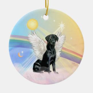 Clouds - Black Labrador Angel Round Ceramic Decoration