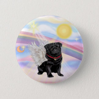 Clouds - Black Pug Angel 6 Cm Round Badge