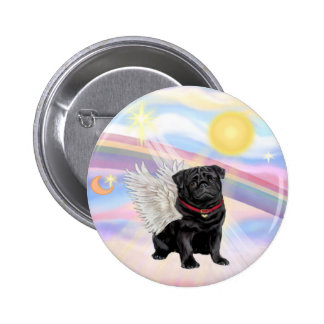 Clouds - Black Pug Angel 6 Cm Round Badge