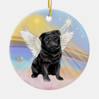 Clouds - Black Pug Angel Christmas Ornament
