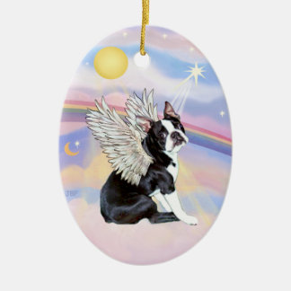 Clouds - Boston Terrier Angel Ceramic Oval Decoration