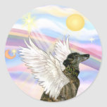 Clouds - Brindle Greyhound angel Round Sticker
