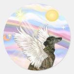 Clouds - Brindle Greyhound angel Round Stickers