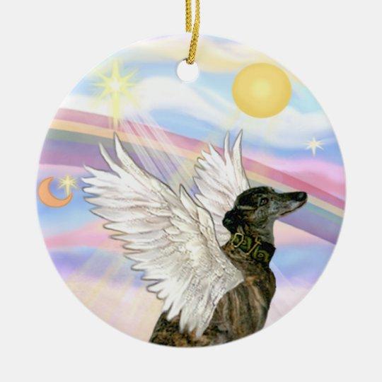 Clouds - Brindle Greyhound Christmas Ornament