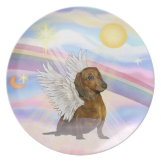 Clouds - Brown/Red Dachshund Angel Dinner Plate