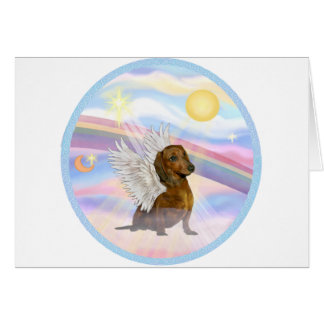 Clouds - Brown/Red Dachshund Angel Greeting Card