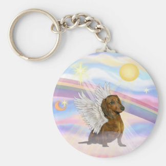 Clouds - Brown/Red Dachshund Angel Key Ring