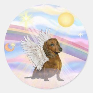 Clouds - Brown/Red Dachshund Angel Round Sticker