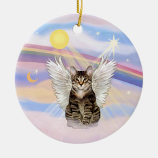 Clouds - Brown Tabby Tiger Cat Angel Round Ceramic Decoration