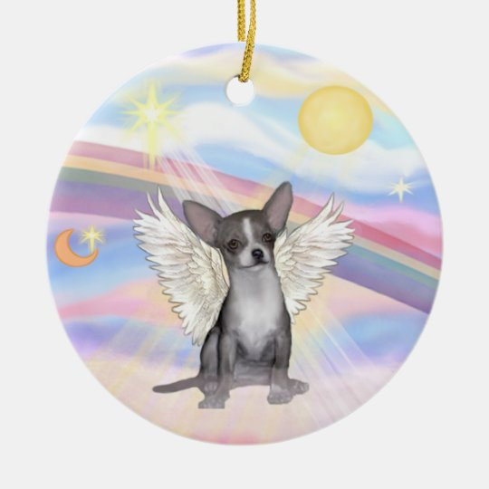 Clouds - Chihuahua (grey) Christmas Ornament