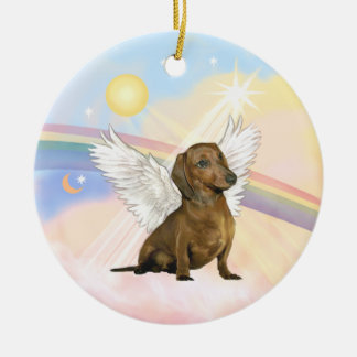 Clouds - Dachshund Angel (brown) Round Ceramic Decoration