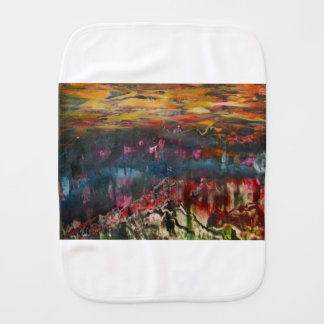 Clouds drifting over landscape burp cloth