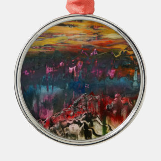 Clouds drifting over landscape christmas ornament
