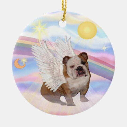 Clouds - English Bulldog Angel Christmas Ornament