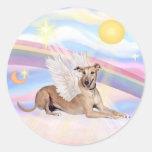 Clouds - Fawn Greyhound Angel (lying down) Round Sticker
