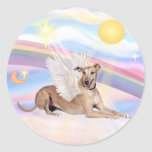 Clouds - Fawn Greyhound Angel (lying down) Round Stickers