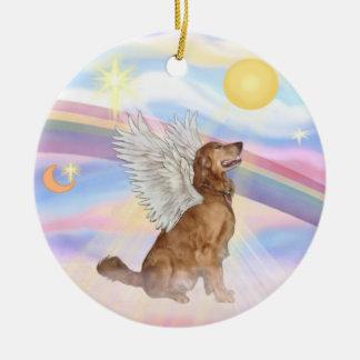 Clouds - Golden Retriever Angel Round Ceramic Decoration