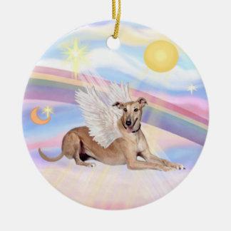 Clouds - Greyhound (fawn) Round Ceramic Decoration