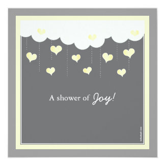 Clouds & Hearts Baby Shower Invitation | Yellow