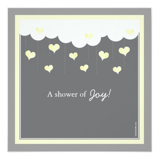Clouds & Hearts Baby Shower Invitation   Yellow
