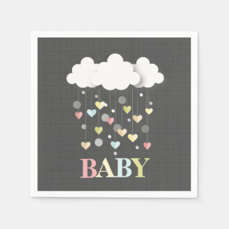 Clouds + Hearts Neutral Baby Shower Disposable Serviette