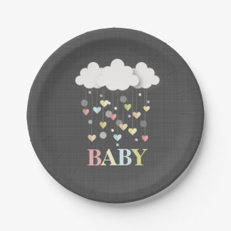 Clouds + Hearts Neutral Baby Shower Paper Plate