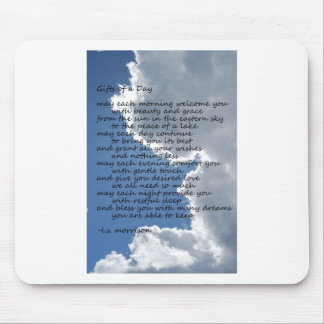 Clouds in blue sky with poem mouse pads