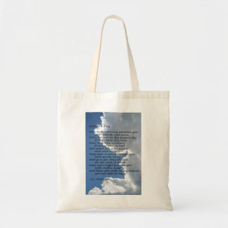 "Clouds in sky with poem ""Gifts of a Day"" Tote Bag"