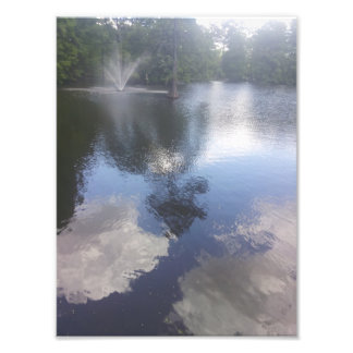 Clouds in the water & fountain print art photo