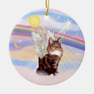 Clouds - Maine Coon Tabby Cat Angel Christmas Ornament