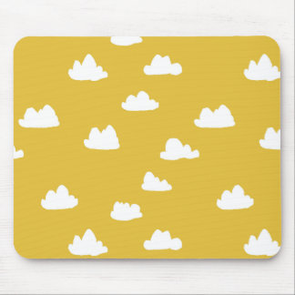 Clouds / Neutral Mustard Yellow / Andrea Lauren Mouse Pad