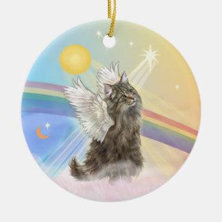 Clouds - Norwegian Forest Cat Angel Round Ceramic Decoration