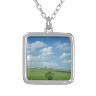 Clouds Over a Field of Green Square Pendant Necklace