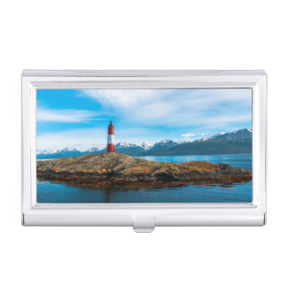 Clouds over lighthouse near Ushuaia, Argentina Business Card Holder