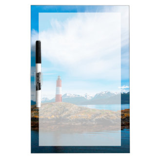 Clouds over lighthouse near Ushuaia, Argentina Dry Erase Board