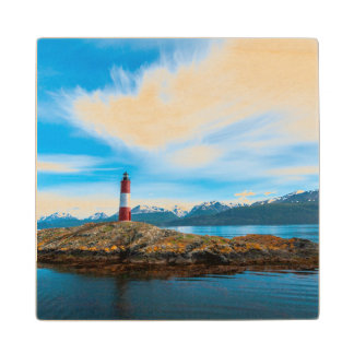 Clouds over lighthouse near Ushuaia, Argentina Wood Coaster