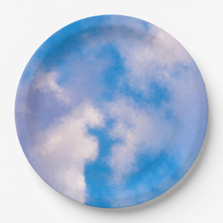 Clouds Paper Plates 9""