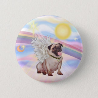 Clouds - Pug Angel (#2) 6 Cm Round Badge