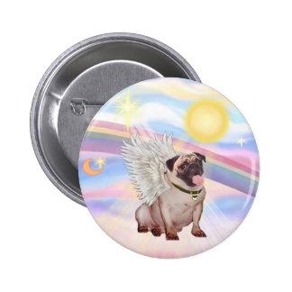 Clouds - Pug Angel (#2) 6 Cm Round Badge
