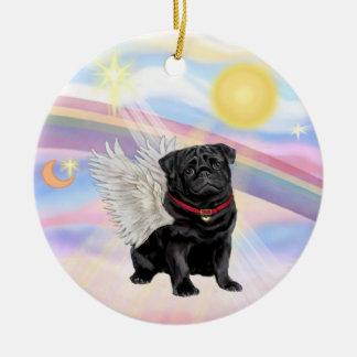 Clouds - Pug Angel (black) Christmas Ornament